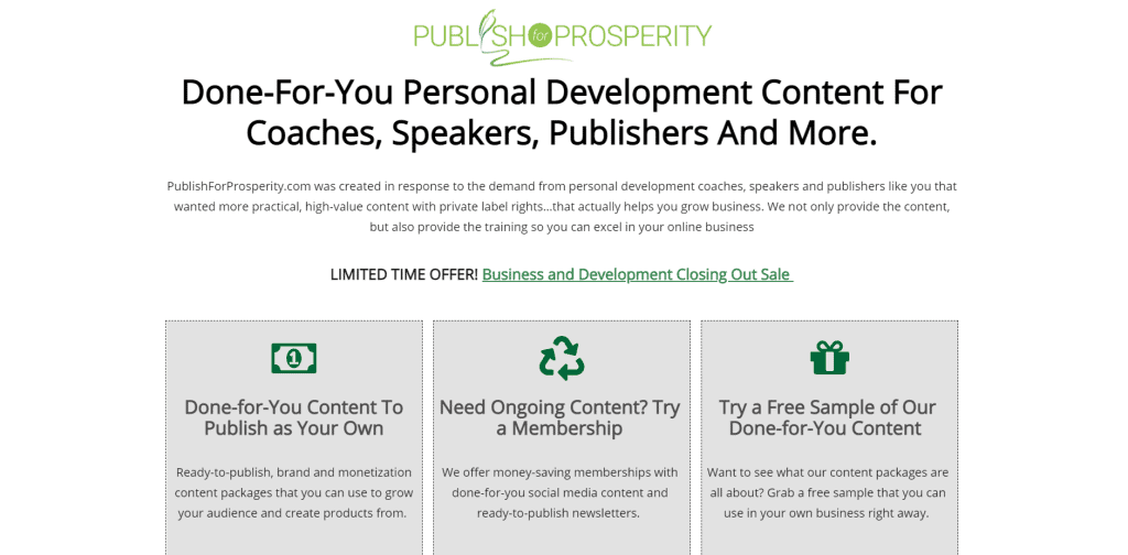 Publish for Prosperity Self Improvement PLR Printables