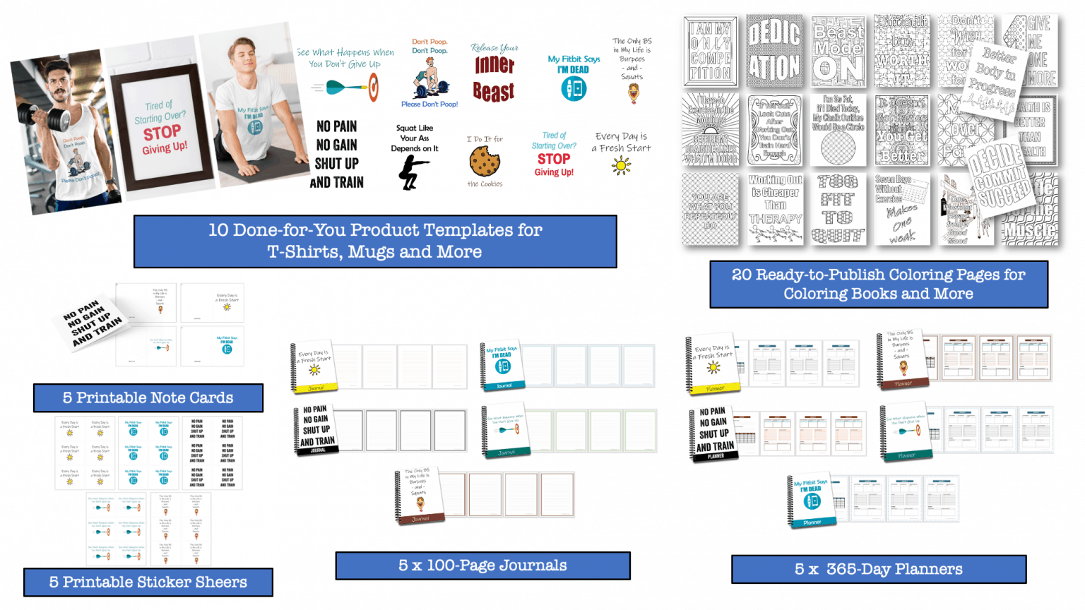 Fitness and Health PLR Printable Product Templates Coloring Pages and More