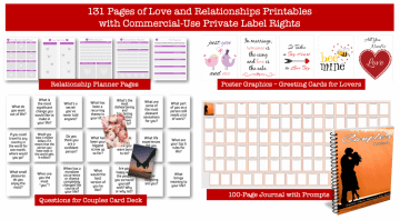 Love and Relationships PLR Printable Kit Planners Card Decks Posters