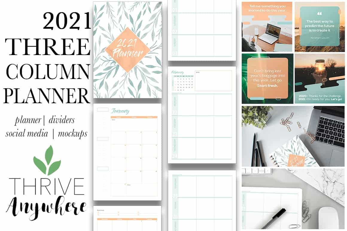 Three Column 2021 Yearly PLR Planner Template