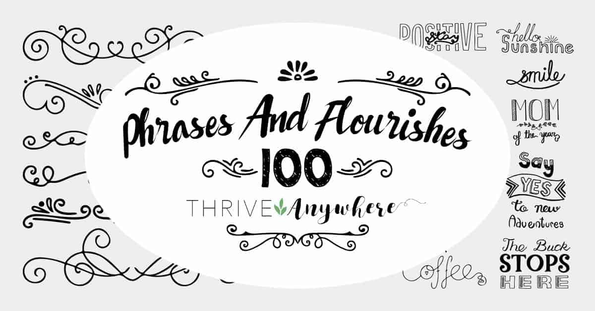 100 Hand Drawn Phrases and Flourishes PLR Journal Graphics