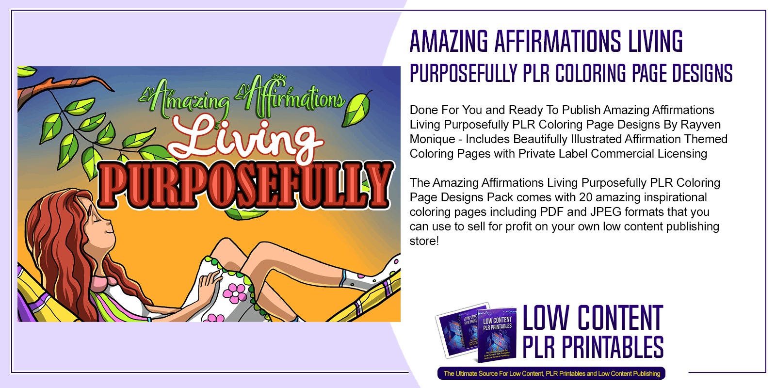 Amazing Affirmations Living Purposefully PLR Coloring Page Designs