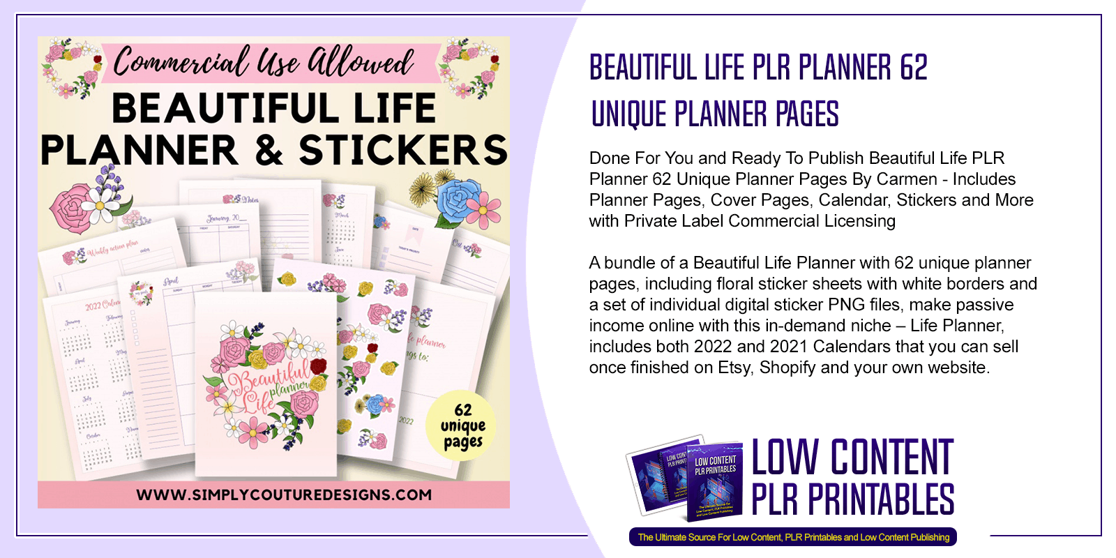 Beautiful Life PLR Planner 62 Unique Planner Pages