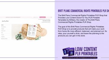 Britt Plans Commercial Rights Printables PLR Shop