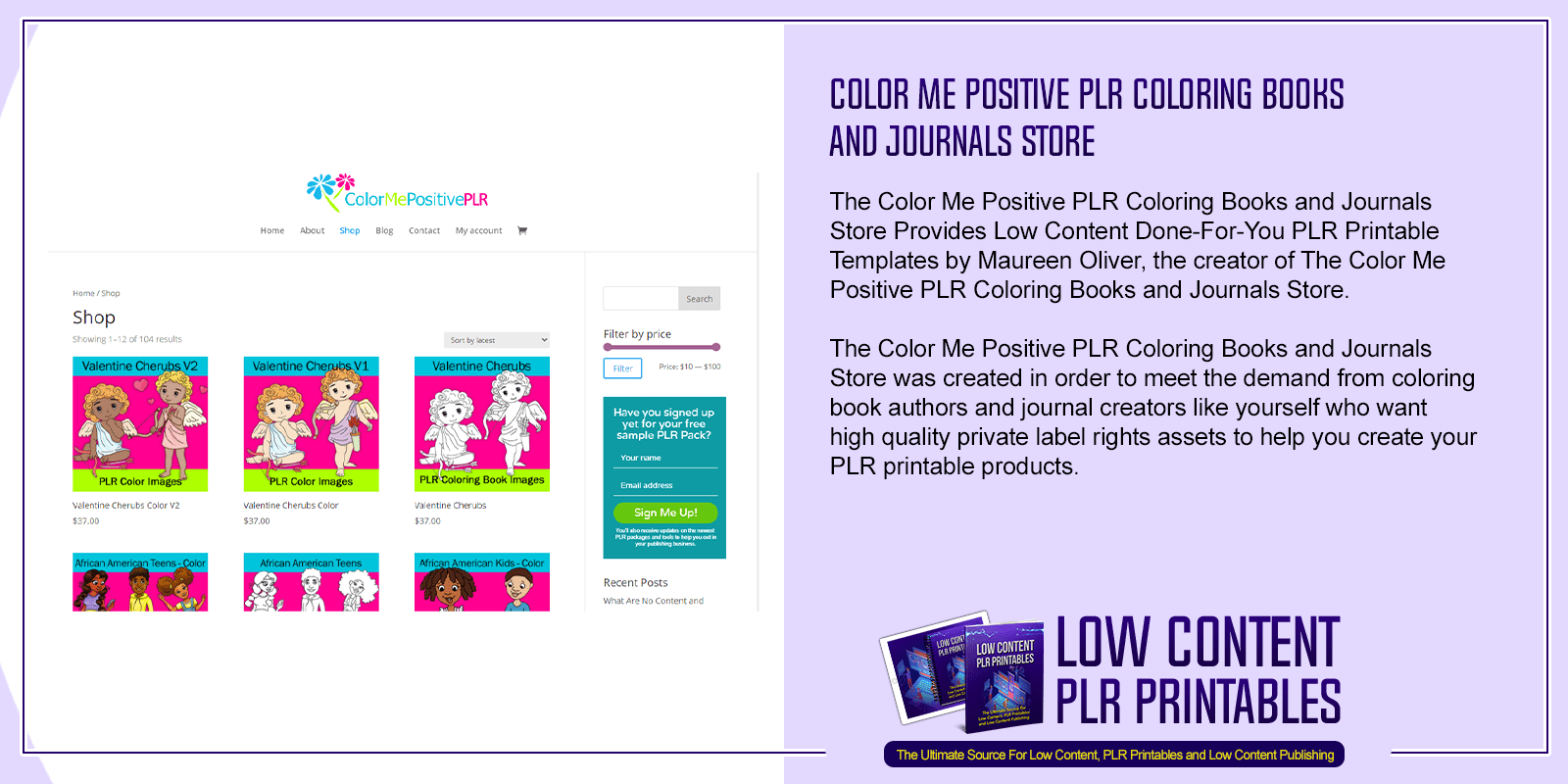 Color Me Positive PLR Coloring Books and Journals Store