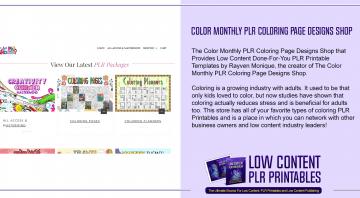 Color Monthly PLR Coloring Page Designs Shop