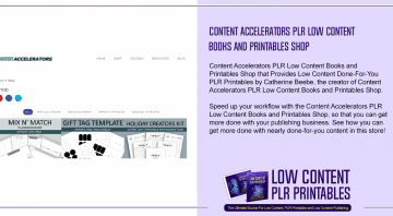 Content Accelerators PLR Low Content Books and Printables Shop