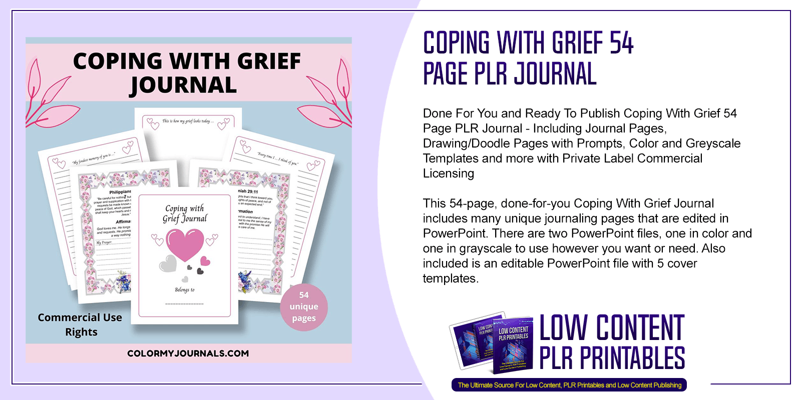 Coping With Grief 54 Page PLR Journal