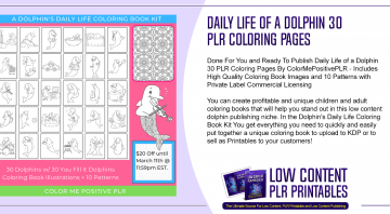 Daily Life Of A Dolphin 30 PLR Coloring Pages