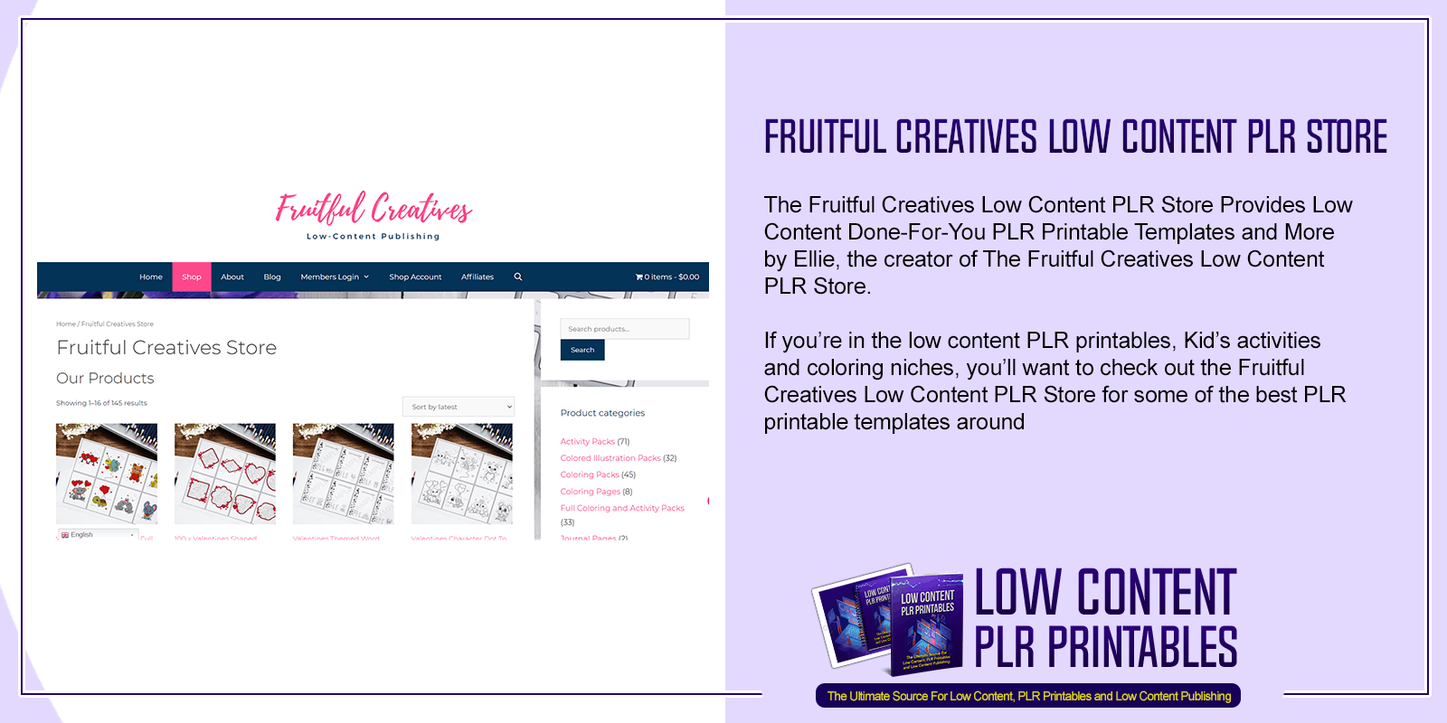 Fruitful Creatives Low Content PLR Store