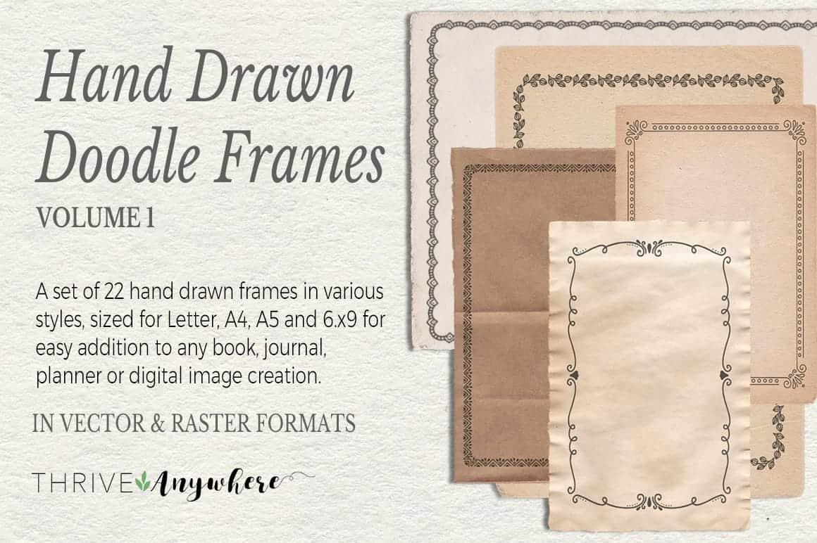 Hand Drawn Doodle PLR Frames Vol. 1 Journal Graphics