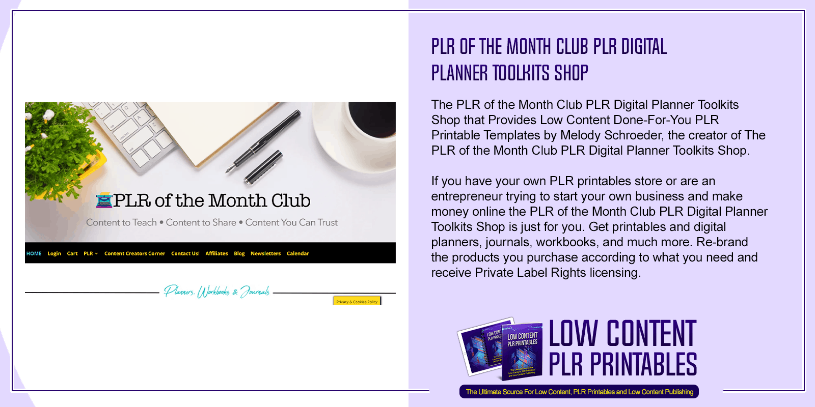PLR of the Month Club PLR Digital Planner Toolkits Shop 1