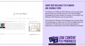 Share Your Brilliance PLR Planners and Journals Store