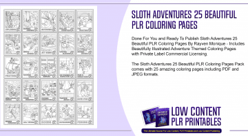 Sloth Adventures 25 Beautiful PLR Coloring Pages