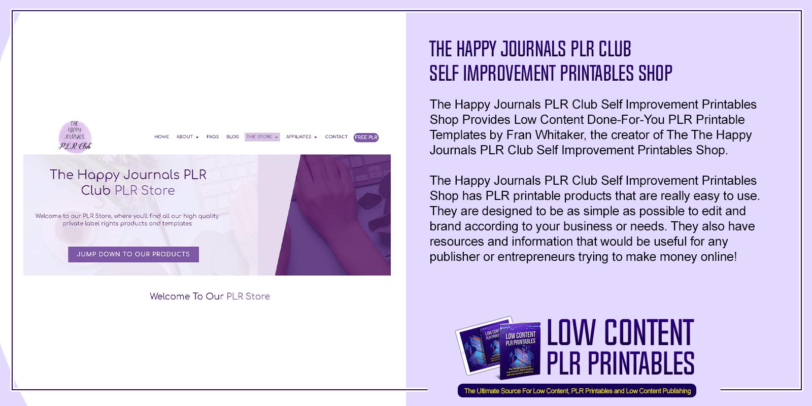 The Happy Journals PLR Club Self Improvement Printables Shop