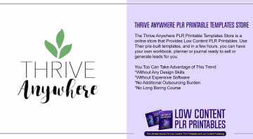 Thrive Anywhere PLR Printable Templates Store