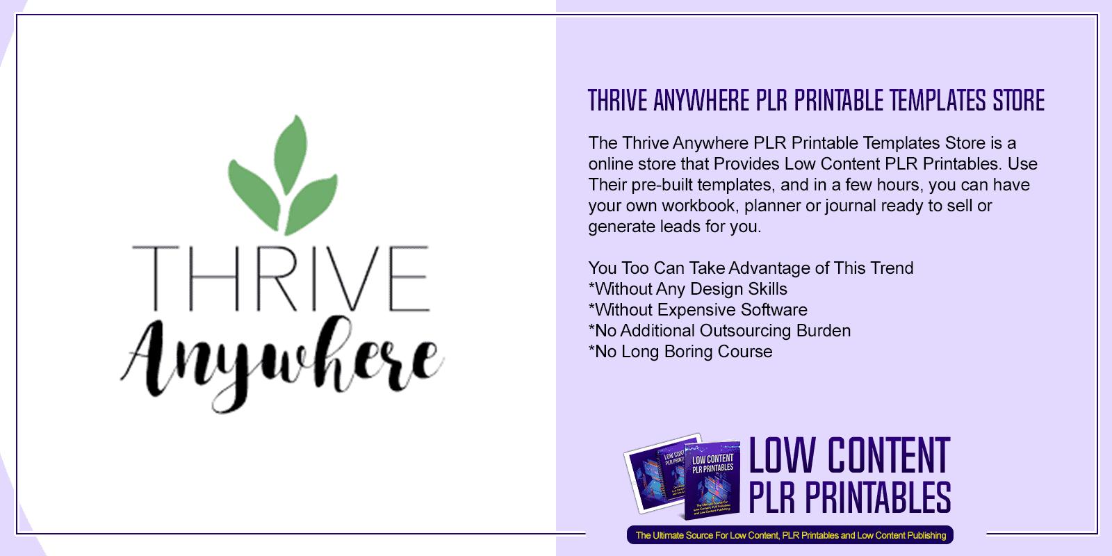 Thrive Anywhere PLR Printable Templates Store
