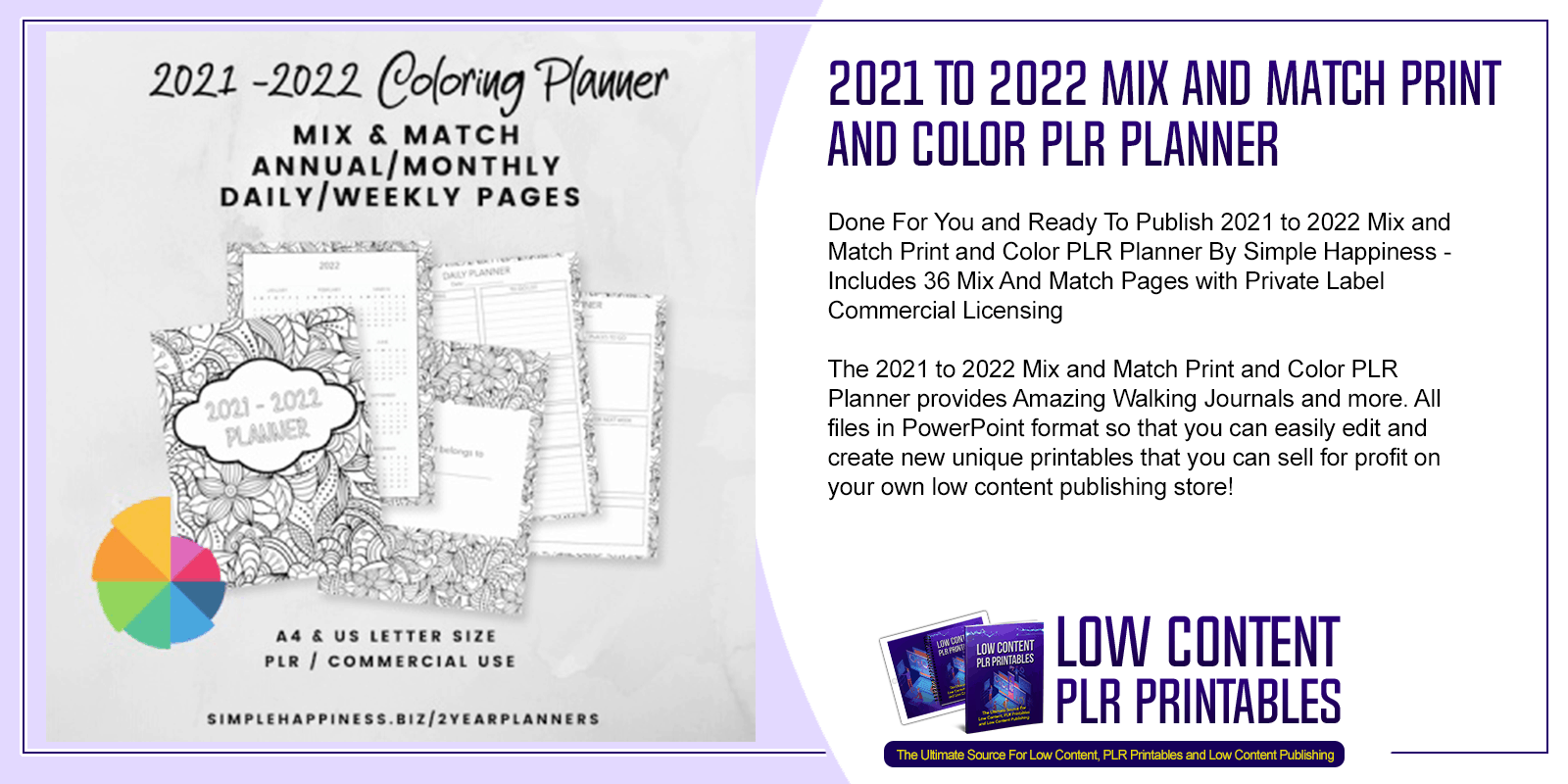 2021 to 2022 Mix and Match Print and Color PLR Planner