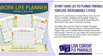 Affinity Work Life PLR Planner Printable Templates Interchangable 3 Styles