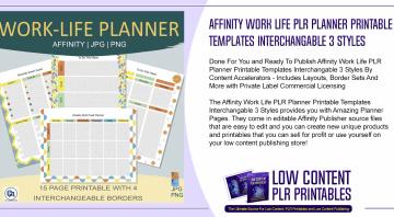 Affinity Work Life PLR Planner Printable Templates Interchangable 3 Styles