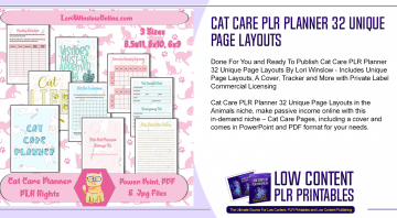 Cat Care PLR Planner 32 Unique Page Layouts