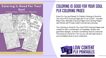 Coloring is Good for Your Soul PLR Coloring Pages