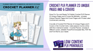 Crochet PLR Planner 23 Unique Pages and 6 Covers