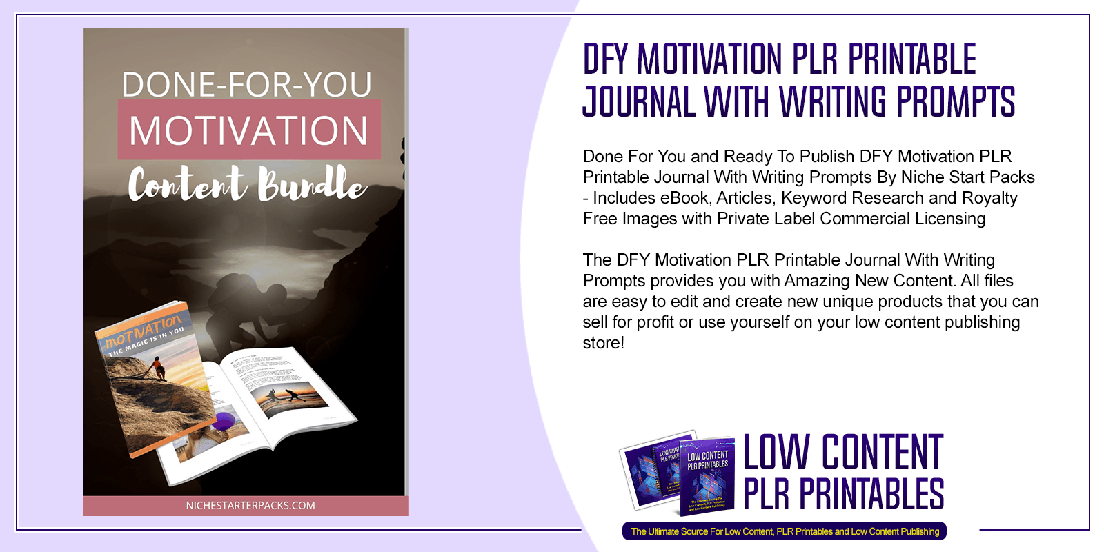DFY Motivation PLR Printable Journal With Writing Prompts