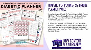 Diabetic PLR Planner 32 Unique Planner Pages