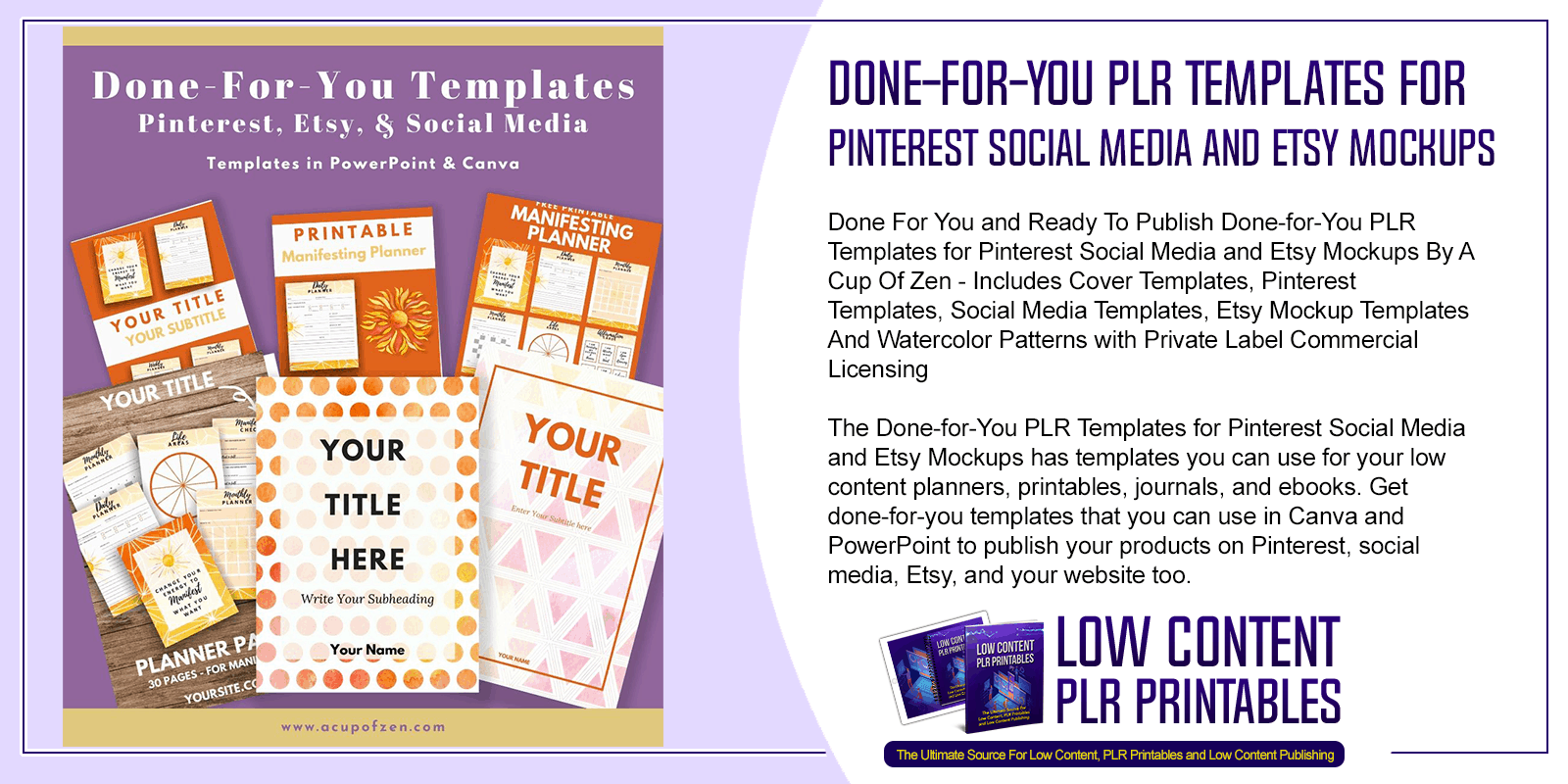 Done for You PLR Templates for Pinterest Social Media and Etsy Mockups