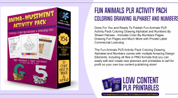 Fun Animals PLR Activity Pack Coloring Drawing Alphabet and Numbers