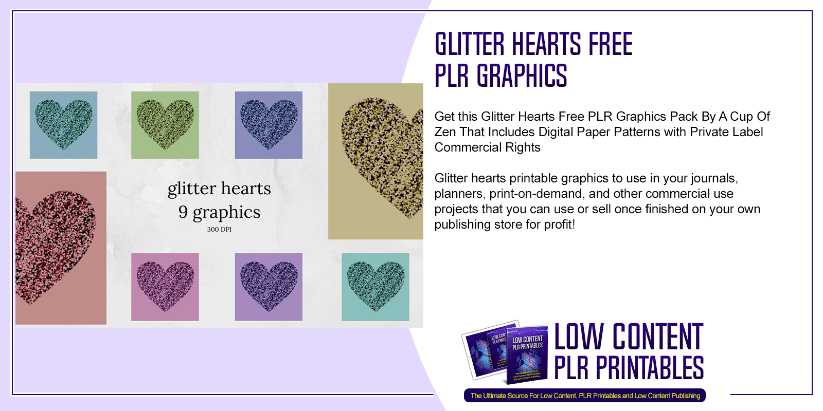 Glitter Hearts Free PLR Graphics