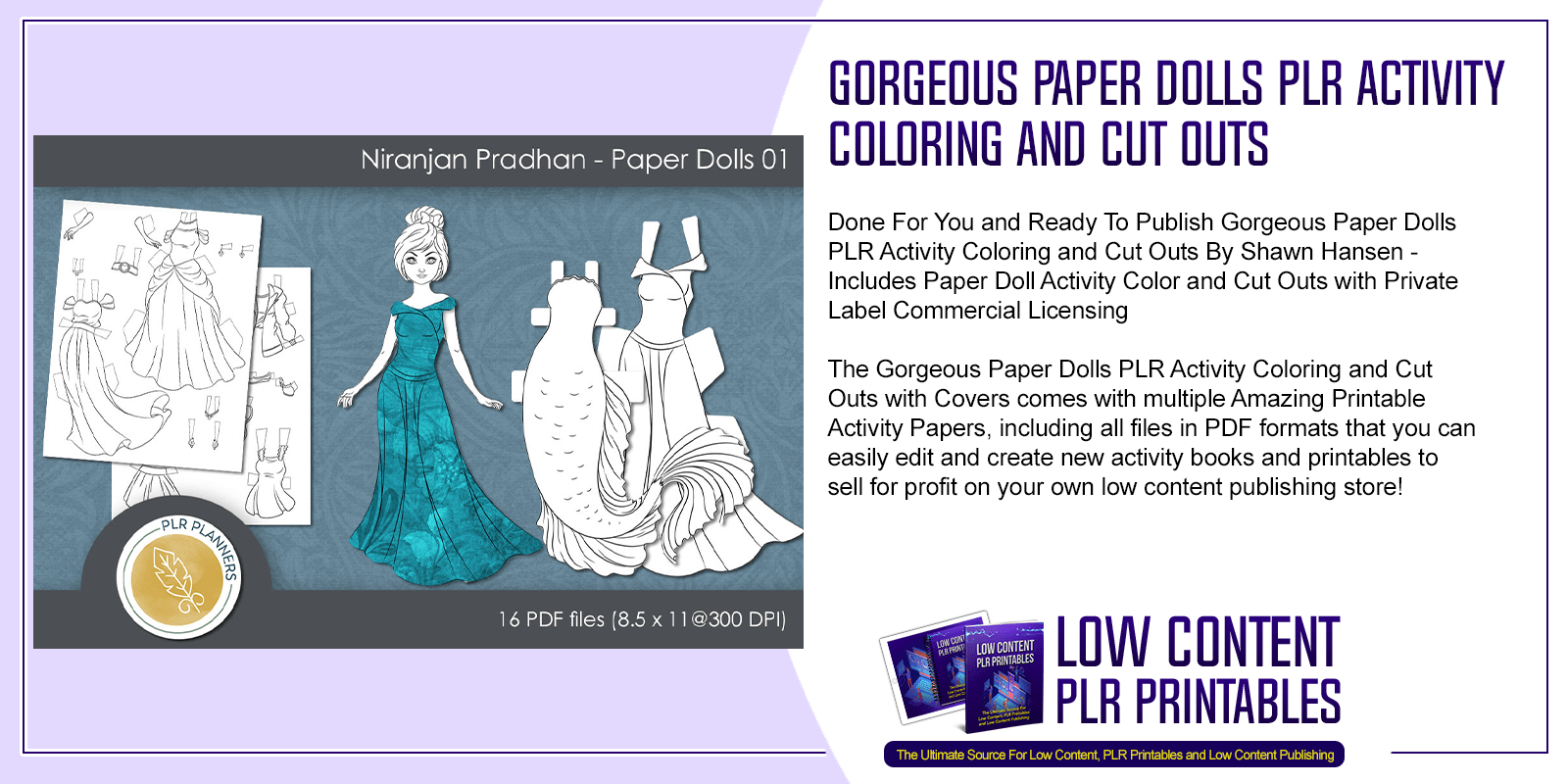 Gorgeous Paper Dolls PLR Activity Coloring and Cut Outs