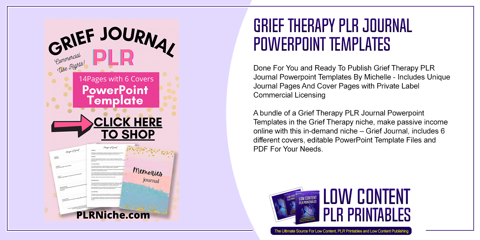 Grief Therapy PLR Journal Powerpoint Templates