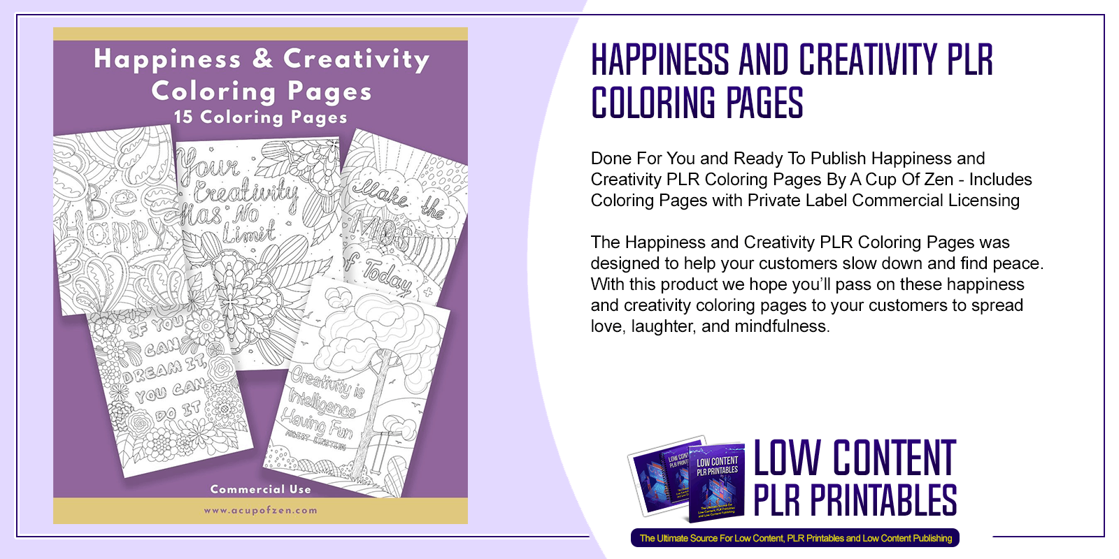 Happiness and Creativity PLR Coloring Pages