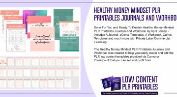 Healthy Money Mindset PLR Printables Journals and Workbook