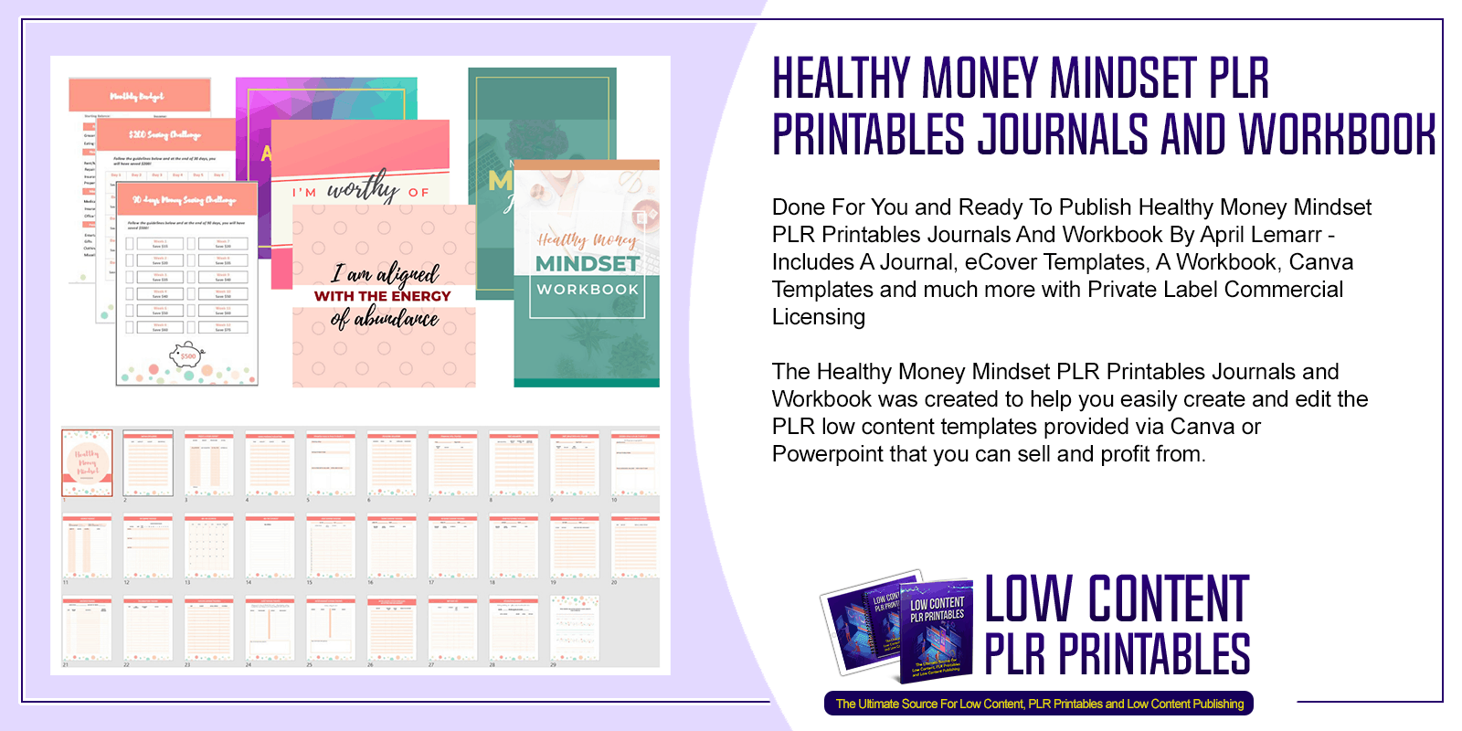 Healthy Money Mindset PLR Printables Journals and Workbook