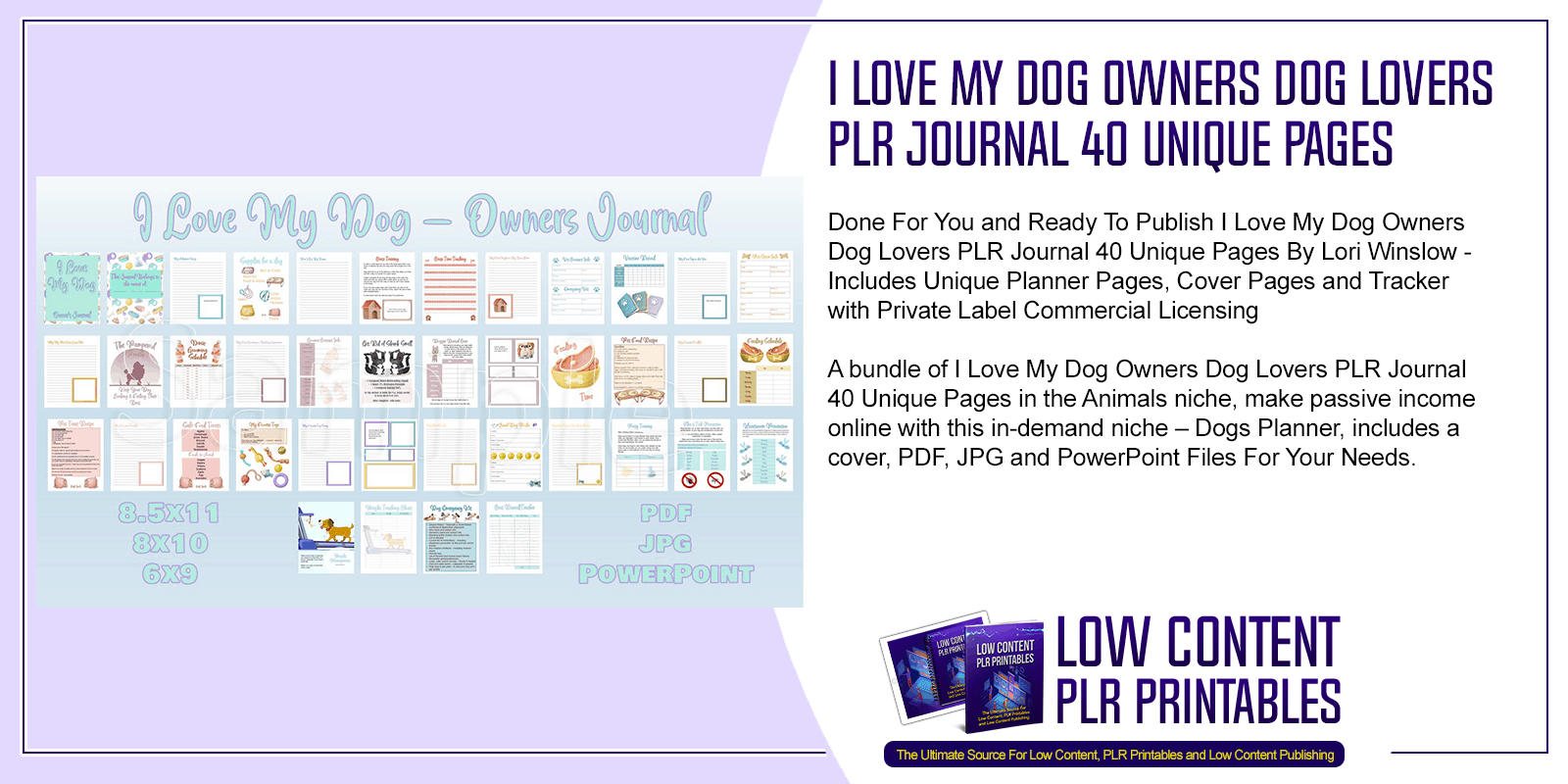 I Love My Dog Owners Dog Lovers PLR Journal 40 Unique Pages