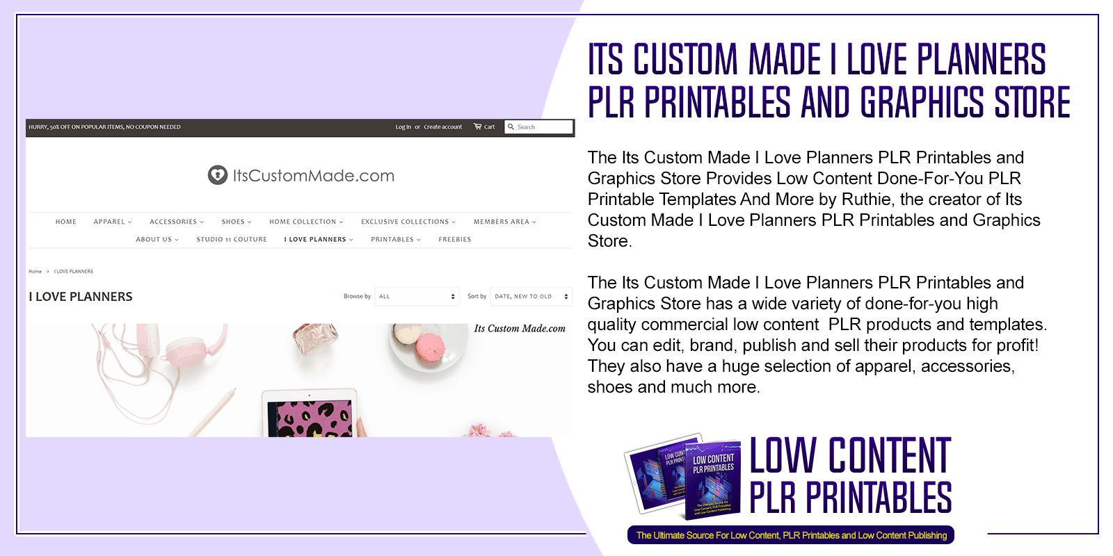 Its Custom Made I Love Planners PLR Printables and Graphics Store