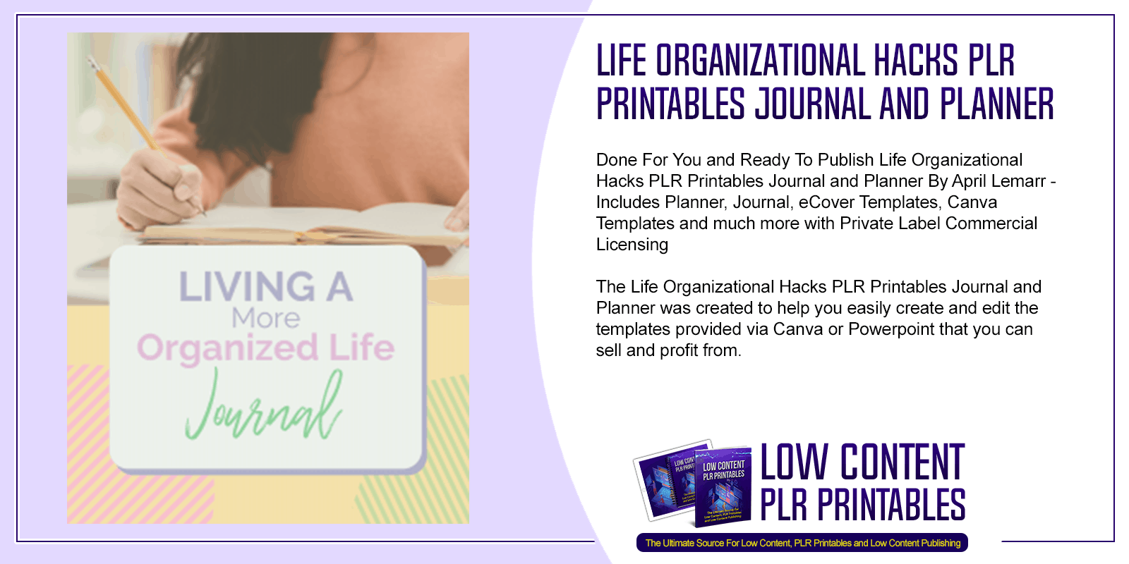 Life Organizational Hacks PLR Printables Journal and Planner