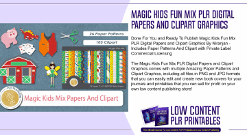 Magic Kids Fun Mix PLR Digital Papers and Clipart Graphics