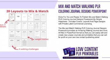 Mix and Match Walking PLR Coloring Journal Designs Powerpoint