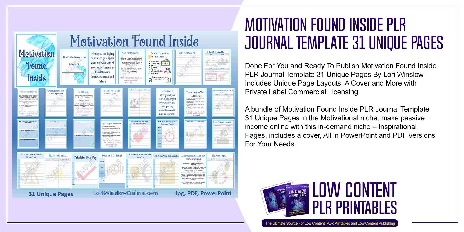 Motivation Found Inside PLR Journal Template 31 Unique Pages