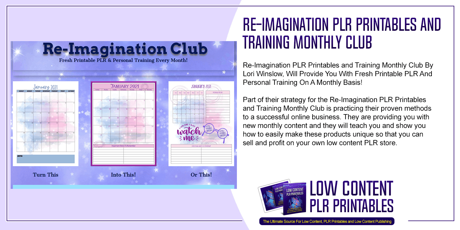 Re Imagination PLR Printables and Training Monthly Club