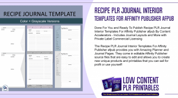 Recipe PLR Journal Interior Templates For Affinity Publisher afpub