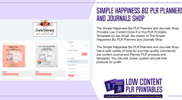 Simple Happiness Biz PLR Planners and Journals Shop