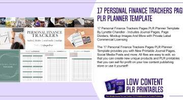 17 Personal Finance Trackers Pages PLR Planner Template