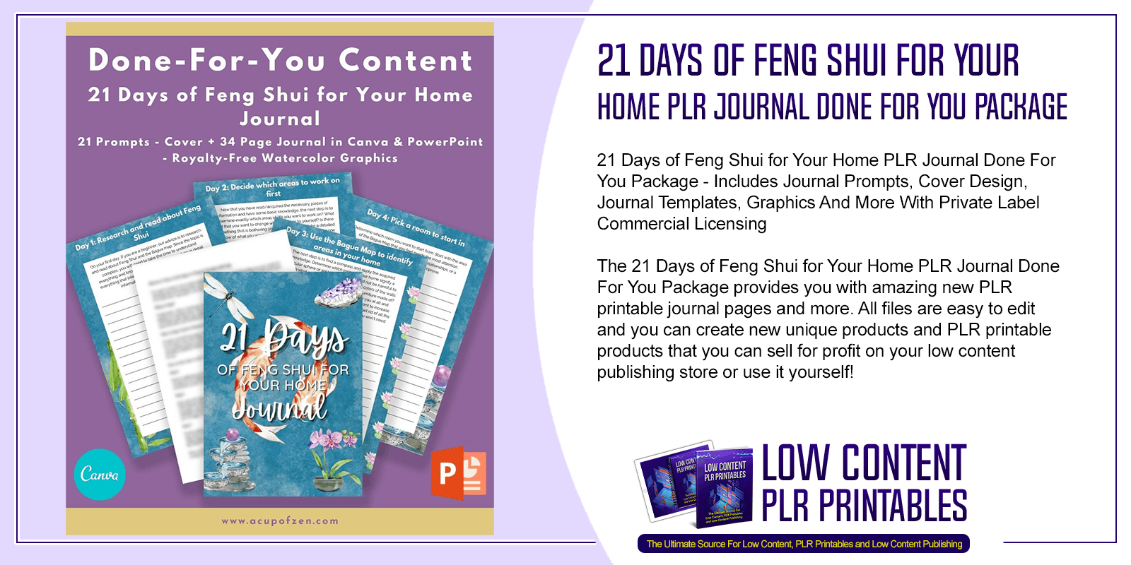 21 Days of Feng Shui for Your Home PLR Journal Done For You Package