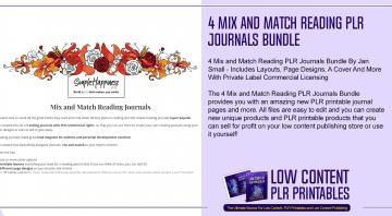 4 Mix and Match Reading PLR Journals Bundle