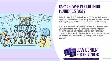 Baby Shower PLR Coloring Planner 15 Pages